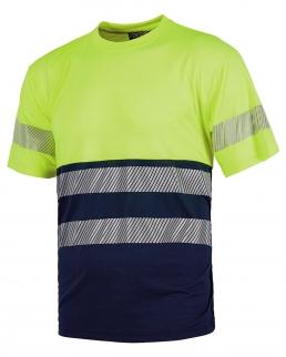 T-shirt bicolore manica corta con bande rifrangenti