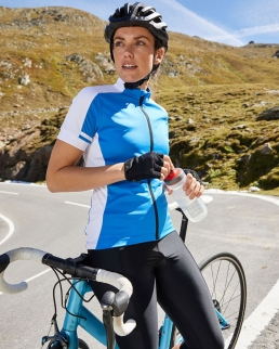 T-shirt da ciclismo donna zip intera