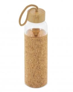 Bottiglia di vetro con tappo di bambù e copertura in sughero