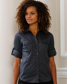Camicia donna maniche 3/4 con risvolto