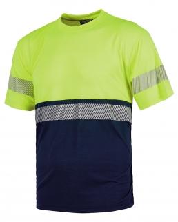 T-shirt bicolore manica corta con banda rifrangente