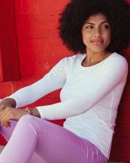 T-shirt Lady-Fit girocollo maniche lunghe