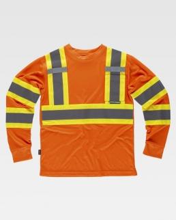 T-shirt riflettente-fluorescente manica lunga