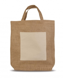 Shopper in Juta con tasca in cotone