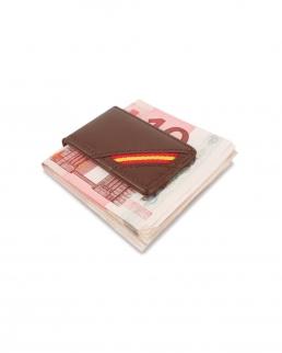Ferma banconote in pelle con bandiera