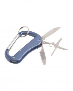 Portachiavi  a moschettone con forbici coltellino e apribottiglie