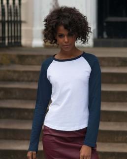 T-shirt baseball donna maniche lunghe