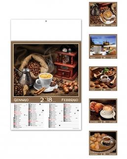 Calendario illustrato sei fogli Il mondo del caffè