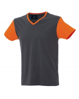 T-shirt manica corta scollo a V maniche e colletto in contrasto Cadice