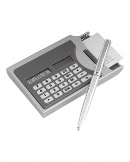 Portabiglietti da visita con calcolatrice e penna