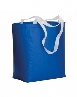 Shopper in R-PET laminato con manici in poliestere