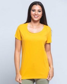 T-shirt donna con taglio vivo sul collo