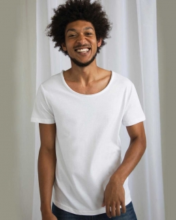 T-shirt scollo grezzo Cotone organico