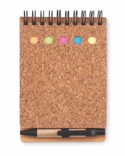 Notebook in sughero con stick notes e penna