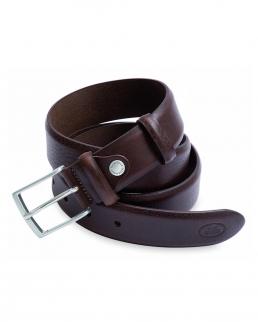Cintura uomo in vera pelle bovina con fibbia in metallo lucido