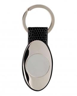 Portachiavi ovale in ecopelle e metallo