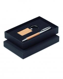 Set penna e portachiavi in legno