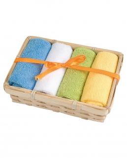 Set 4 mini asciugamani con cestino in bamboo