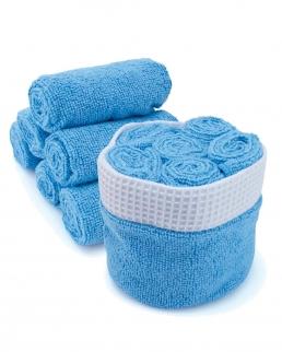 Set di 6 asciugamani in microfibra compresi di cesta in tessuto
