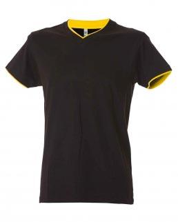 T-shirt scollo a V fondo manica doppio in contrasto Serbia