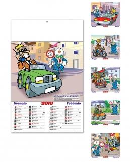 Calendario illustrato sei fogli Educazione Stradale