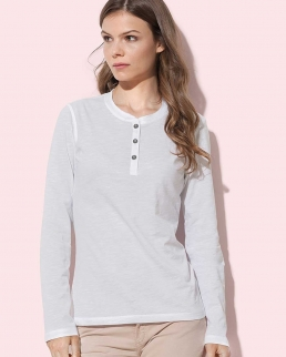 T-Shirt Sharon Henley Long Sleeve - Donna