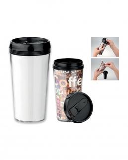 tazza termica in plastica con doppia parete 400 ml