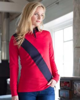 Polo donna maniche lunghe con fascia diagonale in contrasto