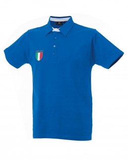 Polo manica corta con stemma tricolore