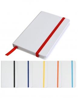 Mini quaderno bianco con elastico colorato