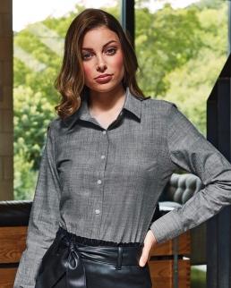 Camicia da donna in chambray cotone fiammato