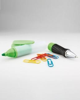 Penna a sfera con evidenziatore e 8 graffette