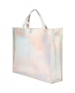 Borsa shopping in tnt laminato iridescente