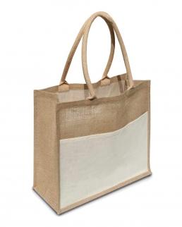 Shopper in Juta con interno cerato e tasca in cotone