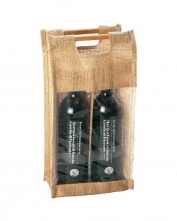 Borsa portabottiglie con manici in bamboo (2 bottiglie)