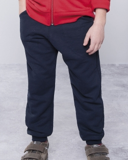 Pantalone bambino in felpa french terry fondo con costina