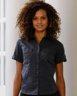Camicia donna maniche corte con risvolto