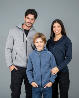 Maglia con cappuccio in knitted fleece Quebec boy