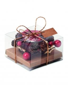 Portacandele in vetro con decorazioni natalizie