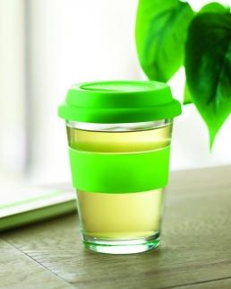 Bicchiere 350 ml in vetro con tappo e impugnatura