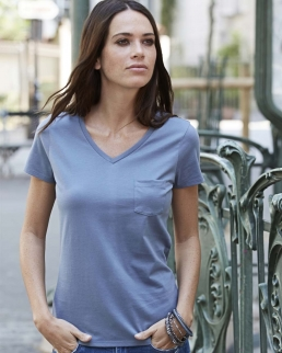 T-shirt donna con scollo a V Luxury Pocket
