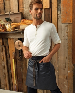Division Waxed Look Denim Bib Apron with Faux Leather (Uomo)