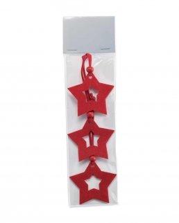 Set 3 decorazioni stella