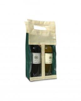 Portabottiglia in tnt con finestra per due bottiglie