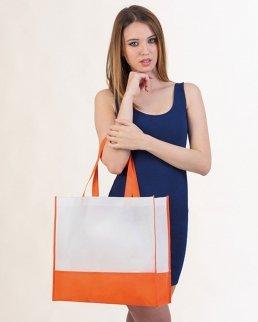 Borsa shopping bicolore con soffietto Rea