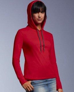 T-shirt donna manica lunga con cappuccio