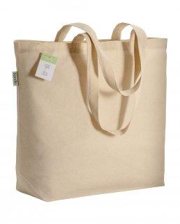 Shopper in cotone organico certificato con soffietto da 135 gr