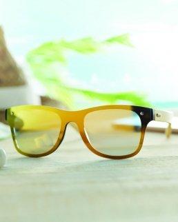 Occhiali da sole con lenti specchiate e aste in bamboo