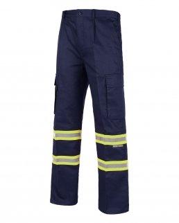 Pantalone diritto con bande riflettente-fluorescente