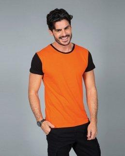 T-shirt manica corta girocollo maniche e colletto in contrasto Lisbona